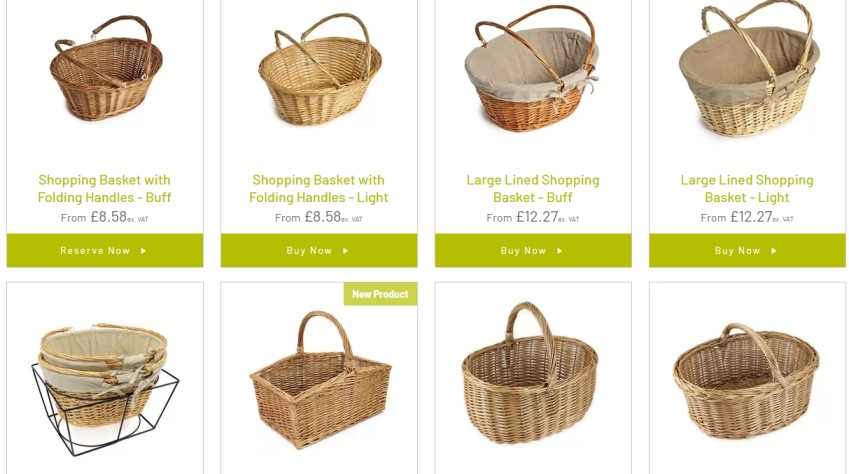 different types of shopping baskets